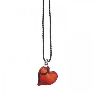 Přívěsek srdce - červené sklo