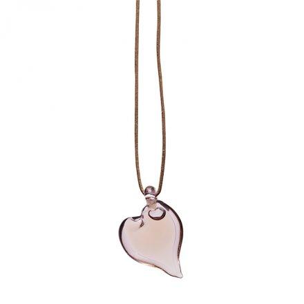 Přívěsek srdce - růžové sklo